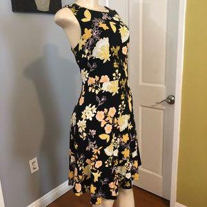 Loft Floral Viscose Peplum Hem Dress